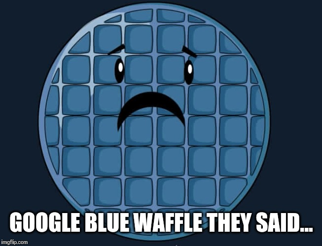 GOOGLE BLUE WAFFLE THEY SAID... | image tagged in blue waffle | made w/ Imgflip meme maker