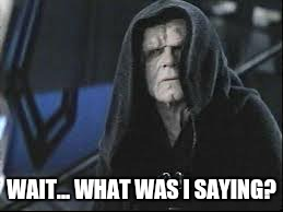 WAIT... WHAT WAS I SAYING? | image tagged in emperor palpatine | made w/ Imgflip meme maker