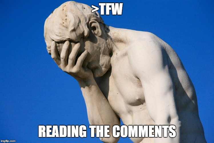 Facepalm | >TFW READING THE COMMENTS | image tagged in facepalm | made w/ Imgflip meme maker