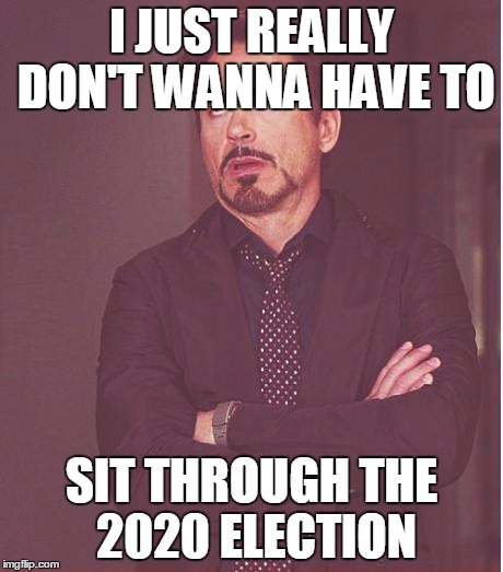 Face You Make Robert Downey Jr Meme | I JUST REALLY DON'T WANNA HAVE TO SIT THROUGH THE 2020 ELECTION | image tagged in memes,face you make robert downey jr | made w/ Imgflip meme maker