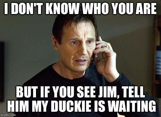 Liam Neeson Taken 2 Meme | I DON'T KNOW WHO YOU ARE BUT IF YOU SEE JIM, TELL HIM MY DUCKIE IS WAITING | image tagged in liam neeson taken | made w/ Imgflip meme maker