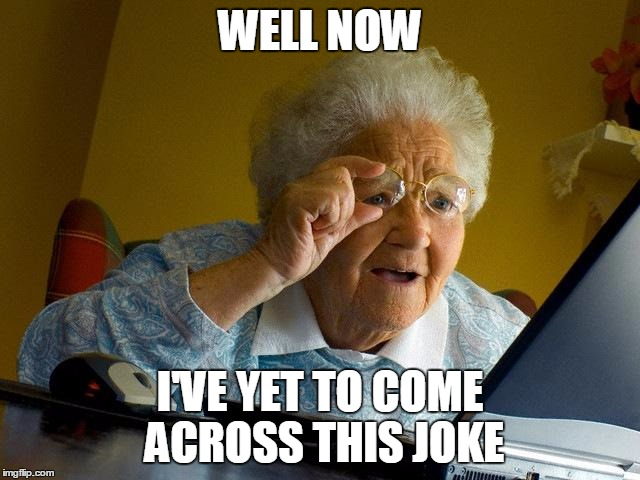Grandma Finds The Internet Meme | WELL NOW I'VE YET TO COME ACROSS THIS JOKE | image tagged in memes,grandma finds the internet | made w/ Imgflip meme maker