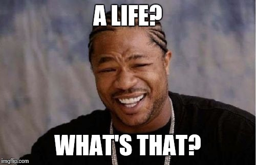 Yo Dawg Heard You Meme | A LIFE? WHAT'S THAT? | image tagged in memes,yo dawg heard you | made w/ Imgflip meme maker