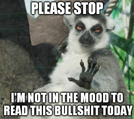 Stoner Lemur Meme | PLEASE STOP I'M NOT IN THE MOOD TO READ THIS BULLSHIT TODAY | image tagged in memes,stoner lemur | made w/ Imgflip meme maker