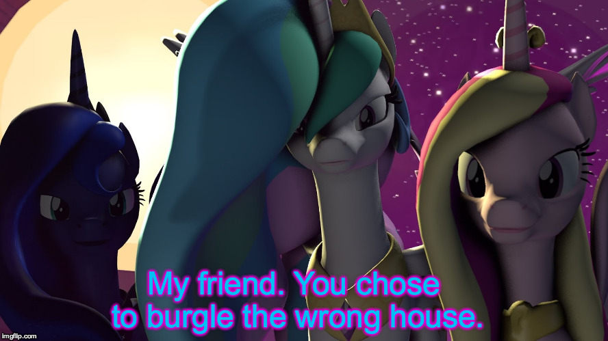 My friend. You chose to burgle the wrong house. | image tagged in three princesses | made w/ Imgflip meme maker