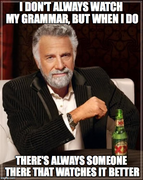 The Most Interesting Man In The World Meme | I DON'T ALWAYS WATCH MY GRAMMAR, BUT WHEN I DO THERE'S ALWAYS SOMEONE THERE THAT WATCHES IT BETTER | image tagged in memes,the most interesting man in the world | made w/ Imgflip meme maker