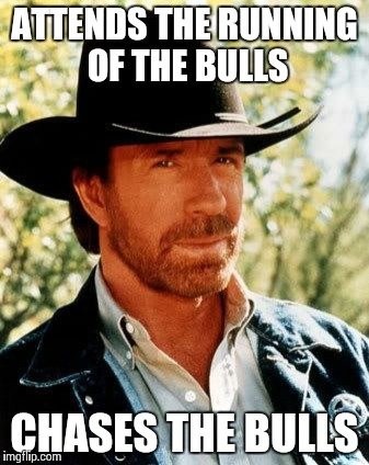 Chuck Norris Meme | ATTENDS THE RUNNING OF THE BULLS CHASES THE BULLS | image tagged in chuck norris | made w/ Imgflip meme maker