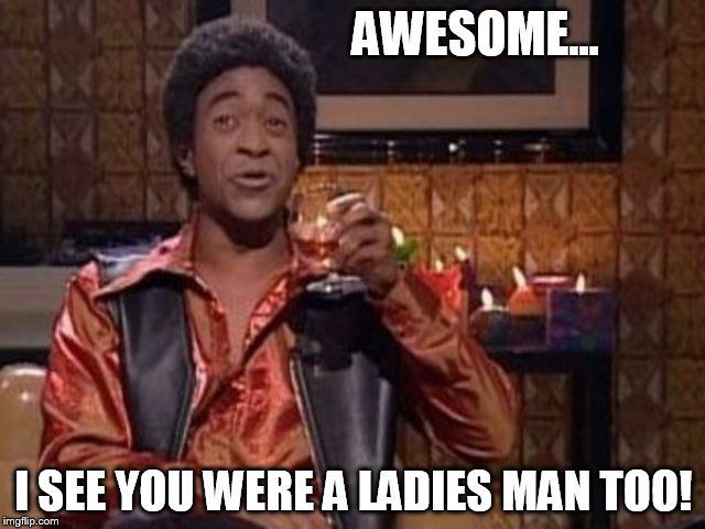 SNL Ladies Man | AWESOME... I SEE YOU WERE A LADIES MAN TOO! | image tagged in snl ladies man | made w/ Imgflip meme maker