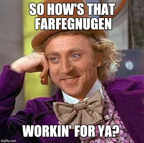 Creepy Condescending Wonka Meme | SO HOW'S THAT FARFEGNUGEN WORKIN' FOR YA? | image tagged in memes,creepy condescending wonka | made w/ Imgflip meme maker