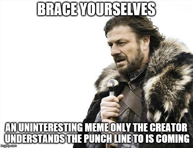Brace Yourselves X is Coming Meme | BRACE YOURSELVES AN UNINTERESTING MEME ONLY THE CREATOR UNDERSTANDS THE PUNCH LINE TO IS COMING | image tagged in memes,brace yourselves x is coming | made w/ Imgflip meme maker