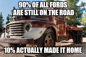 90% OF ALL FORDS ARE STILL ON THE ROAD 10% ACTUALLY MADE IT HOME | made w/ Imgflip meme maker