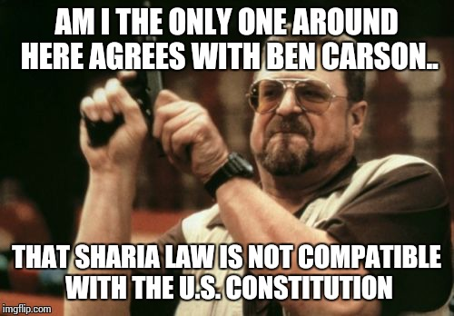 Am I The Only One Around Here Meme | AM I THE ONLY ONE AROUND HERE AGREES WITH BEN CARSON.. THAT SHARIA LAW IS NOT COMPATIBLE WITH THE U.S. CONSTITUTION | image tagged in memes,am i the only one around here | made w/ Imgflip meme maker