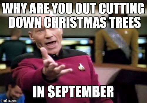Picard Wtf Meme | WHY ARE YOU OUT CUTTING DOWN CHRISTMAS TREES IN SEPTEMBER | image tagged in memes,picard wtf | made w/ Imgflip meme maker
