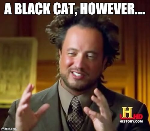Ancient Aliens Meme | A BLACK CAT, HOWEVER.... | image tagged in memes,ancient aliens | made w/ Imgflip meme maker