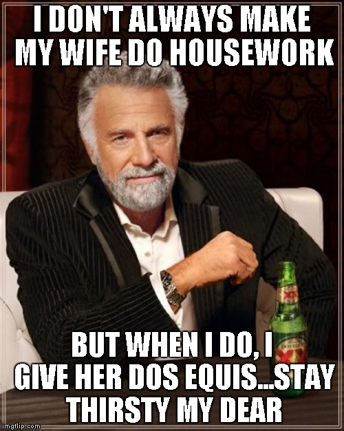 The Most Interesting Man In The World Meme | I DON'T ALWAYS MAKE MY WIFE DO HOUSEWORK BUT WHEN I DO, I GIVE HER DOS EQUIS...STAY THIRSTY MY DEAR | image tagged in memes,the most interesting man in the world | made w/ Imgflip meme maker