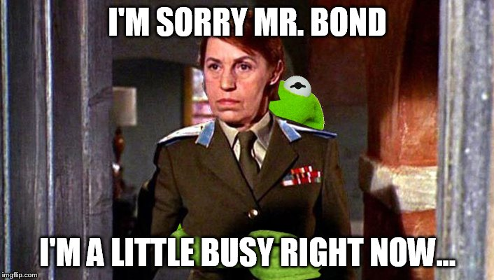 I'M SORRY MR. BOND I'M A LITTLE BUSY RIGHT NOW... | made w/ Imgflip meme maker