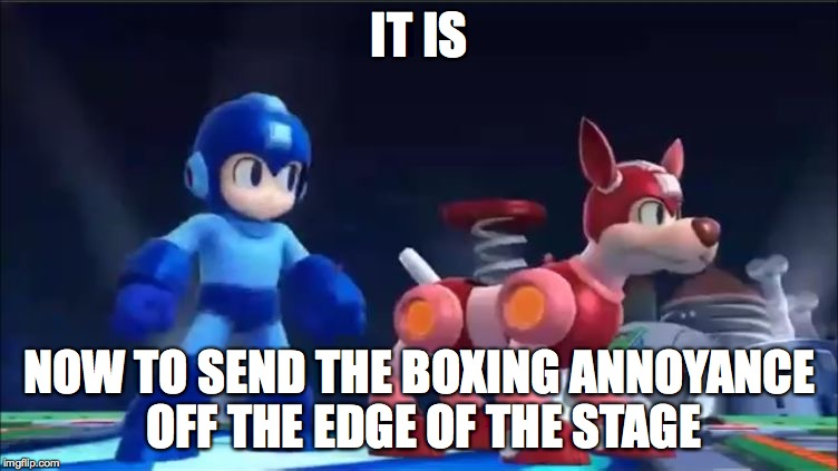 Megaman and Rush | IT IS NOW TO SEND THE BOXING ANNOYANCE OFF THE EDGE OF THE STAGE | image tagged in megaman and rush | made w/ Imgflip meme maker