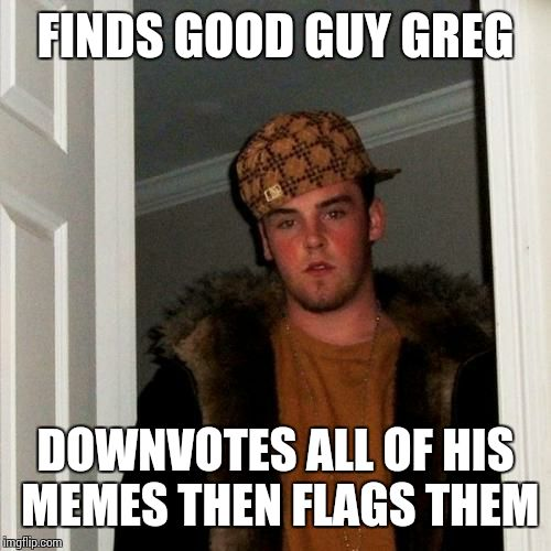 Scumbag Steve Meme | FINDS GOOD GUY GREG DOWNVOTES ALL OF HIS MEMES THEN FLAGS THEM | image tagged in memes,scumbag steve | made w/ Imgflip meme maker
