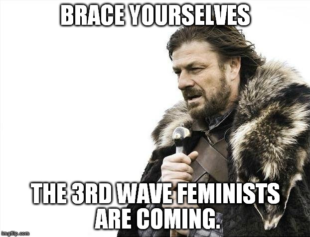 Brace Yourselves X is Coming Meme | BRACE YOURSELVES THE 3RD WAVE FEMINISTS ARE COMING. | image tagged in memes,brace yourselves x is coming | made w/ Imgflip meme maker