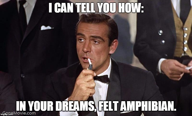 Sean Connery | I CAN TELL YOU HOW: IN YOUR DREAMS, FELT AMPHIBIAN. | image tagged in sean connery | made w/ Imgflip meme maker