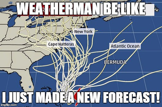 Joaquin is coming | WEATHERMAN BE LIKE I JUST MADE A NEW FORECAST! | image tagged in weather,hurricane,be like | made w/ Imgflip meme maker