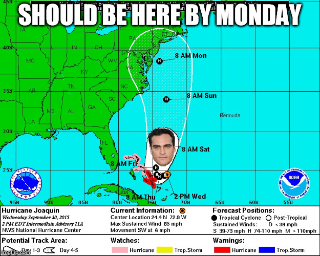 Tracking Hurricane Joaquin | SHOULD BE HERE BY MONDAY | image tagged in hurricane,joaquin,weather | made w/ Imgflip meme maker