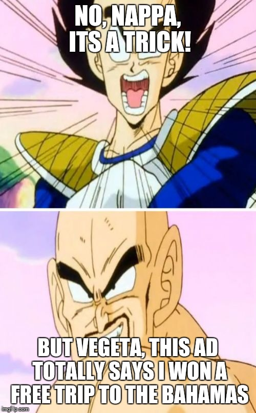No Nappa Its A Trick | NO, NAPPA, ITS A TRICK! BUT VEGETA, THIS AD TOTALLY SAYS I WON A FREE TRIP TO THE BAHAMAS | image tagged in memes,no nappa its a trick | made w/ Imgflip meme maker