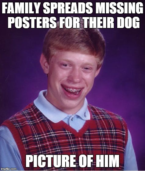 Bad Luck Brian Meme | FAMILY SPREADS MISSING POSTERS FOR THEIR DOG PICTURE OF HIM | image tagged in memes,bad luck brian | made w/ Imgflip meme maker