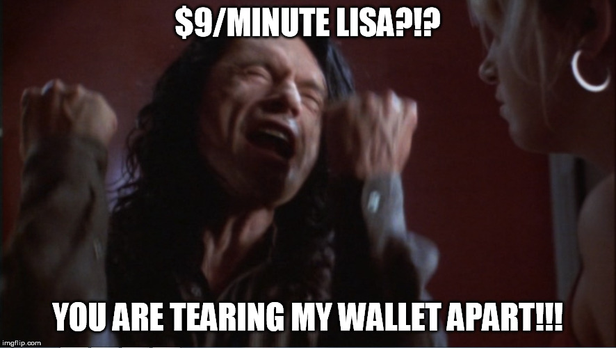 You are tearing me apart! | $9/MINUTE LISA?!? YOU ARE TEARING MY WALLET APART!!! | image tagged in you are tearing me apart | made w/ Imgflip meme maker