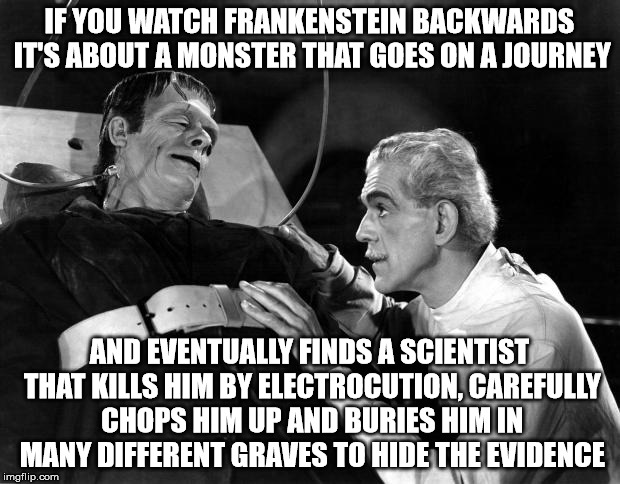 dr frankenstein | IF YOU WATCH FRANKENSTEIN BACKWARDS IT'S ABOUT A MONSTER THAT GOES ON A JOURNEY AND EVENTUALLY FINDS A SCIENTIST THAT KILLS HIM BY ELECTROCU | image tagged in dr frankenstein | made w/ Imgflip meme maker
