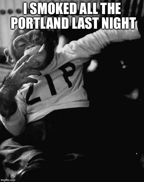 Bingo and chill | I SMOKED ALL THE PORTLAND LAST NIGHT | image tagged in bingo and chill | made w/ Imgflip meme maker