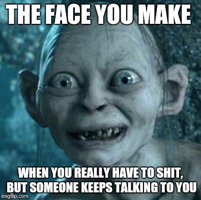 Gollum Meme | THE FACE YOU MAKE WHEN YOU REALLY HAVE TO SHIT, BUT SOMEONE KEEPS TALKING TO YOU | image tagged in memes,gollum | made w/ Imgflip meme maker