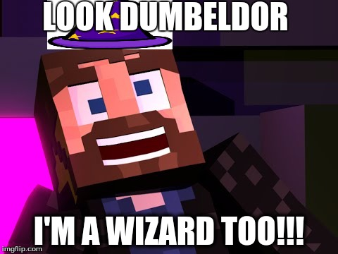 LOOK DUMBELDOR I'M A WIZARD TOO!!! | image tagged in minecraft,youtuber | made w/ Imgflip meme maker