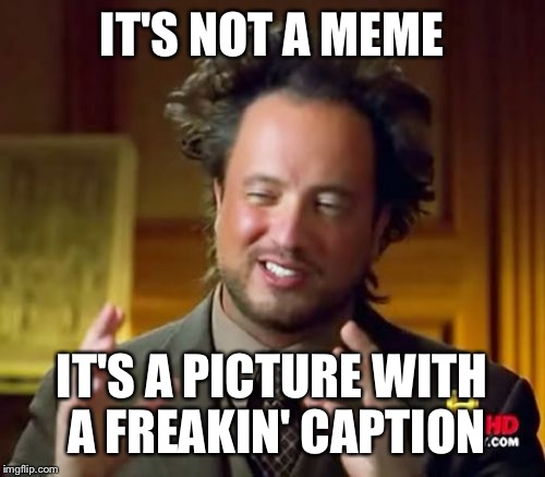Ancient Aliens Meme | IT'S NOT A MEME IT'S A PICTURE WITH A FREAKIN' CAPTION | image tagged in memes,ancient aliens | made w/ Imgflip meme maker