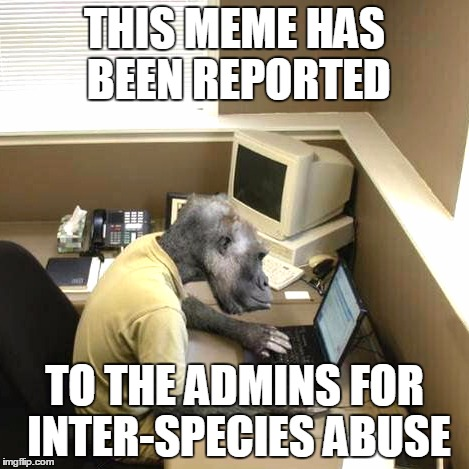 THIS MEME HAS BEEN REPORTED TO THE ADMINS FOR INTER-SPECIES ABUSE | made w/ Imgflip meme maker