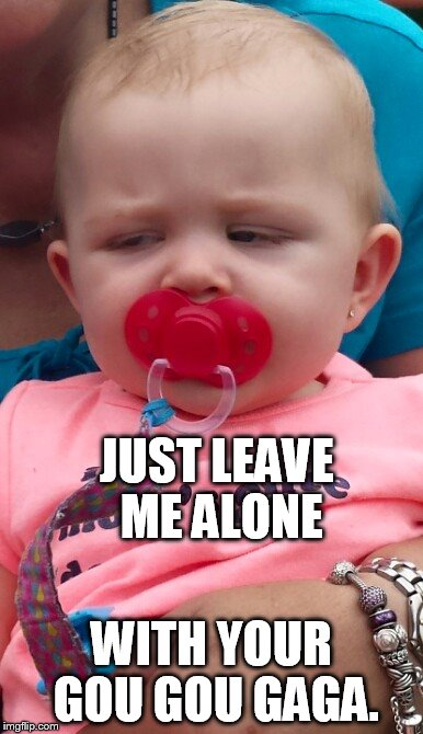 leave me alone | JUST LEAVE ME ALONE WITH YOUR GOU GOU GAGA. | image tagged in angry baby | made w/ Imgflip meme maker