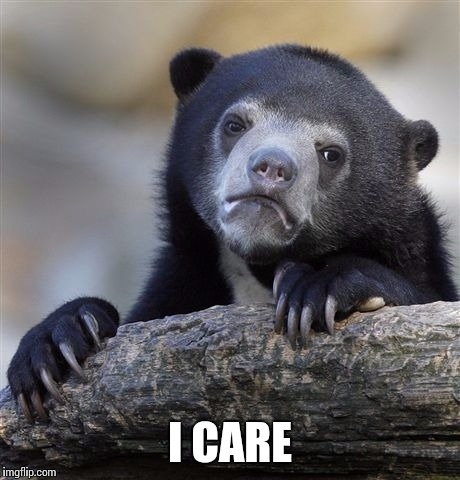 Confession Bear Meme | I CARE | image tagged in memes,confession bear | made w/ Imgflip meme maker