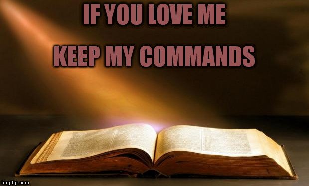 IF YOU LOVE ME KEEP MY COMMANDS | image tagged in bible | made w/ Imgflip meme maker