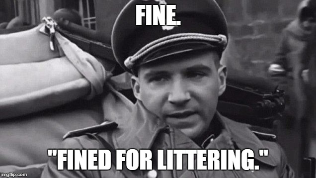 "Grammar Nazi | FINE. ""FINED FOR LITTERING."" 