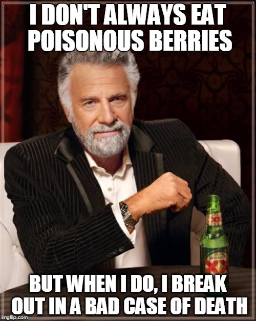 The Most Interesting Man In The World Meme | I DON'T ALWAYS EAT POISONOUS BERRIES BUT WHEN I DO, I BREAK OUT IN A BAD CASE OF DEATH | image tagged in memes,the most interesting man in the world | made w/ Imgflip meme maker