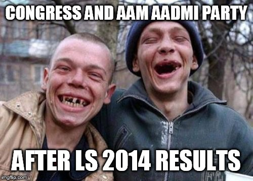 Opposition parties in India.  | CONGRESS AND AAM AADMI PARTY AFTER LS 2014 RESULTS | image tagged in memes,ugly twins,india | made w/ Imgflip meme maker