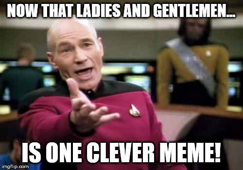 NOW THAT LADIES AND GENTLEMEN... IS ONE CLEVER MEME! | image tagged in memes,picard wtf | made w/ Imgflip meme maker