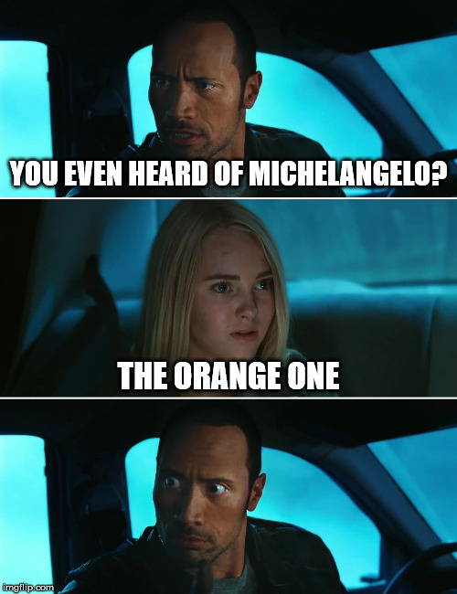 Rock Driving Night | YOU EVEN HEARD OF MICHELANGELO? THE ORANGE ONE | image tagged in rock driving night | made w/ Imgflip meme maker