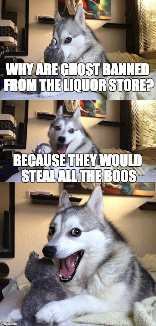 Bad Pun Dog Meme | WHY ARE GHOST BANNED FROM THE LIQUOR STORE? BECAUSE THEY WOULD STEAL ALL THE BOOS | image tagged in memes,bad pun dog | made w/ Imgflip meme maker