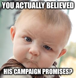 Skeptical Baby Meme | YOU ACTUALLY BELIEVED HIS CAMPAIGN PROMISES? | image tagged in memes,skeptical baby | made w/ Imgflip meme maker