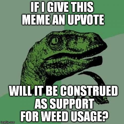 Philosoraptor Meme | IF I GIVE THIS MEME AN UPVOTE WILL IT BE CONSTRUED AS SUPPORT FOR WEED USAGE? | image tagged in memes,philosoraptor | made w/ Imgflip meme maker