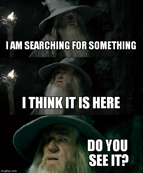 Confused Gandalf | I AM SEARCHING FOR SOMETHING I THINK IT IS HERE DO YOU SEE IT? | image tagged in memes,confused gandalf | made w/ Imgflip meme maker