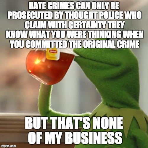But Thats None Of My Business Meme | HATE CRIMES CAN ONLY BE PROSECUTED BY THOUGHT POLICE WHO CLAIM WITH CERTAINTY THEY KNOW WHAT YOU WERE THINKING WHEN YOU COMMITTED THE ORIGIN | image tagged in memes,but thats none of my business,kermit the frog | made w/ Imgflip meme maker