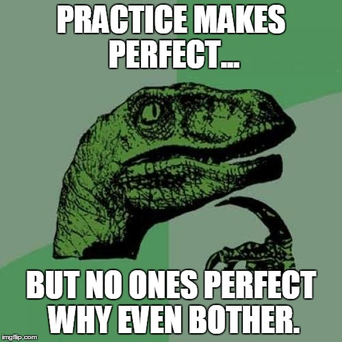 Philosoraptor | PRACTICE MAKES PERFECT... BUT NO ONES PERFECT WHY EVEN BOTHER. | image tagged in memes,philosoraptor | made w/ Imgflip meme maker