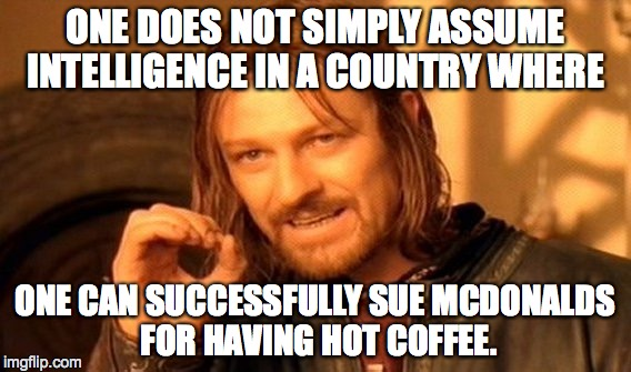 One Does Not Simply Meme | ONE DOES NOT SIMPLY ASSUME INTELLIGENCE IN A COUNTRY WHERE ONE CAN SUCCESSFULLY SUE MCDONALDS FOR HAVING HOT COFFEE. | image tagged in memes,one does not simply | made w/ Imgflip meme maker